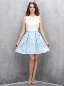 Pretty A-line Homecoming Dress Blue And White Scoop Satin Sleeveless Mini Length Zipper