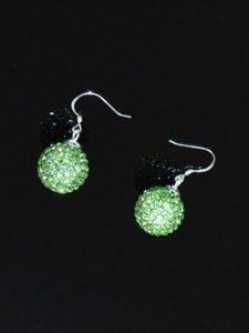 Beautiful Spring Green Round Rhinestone Earrings