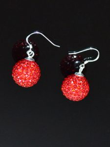 Red Round Sweet Rhinestone Earrings