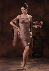 Strapless Beaded and Ruched Mother of the Bride Dress in Brown of Column