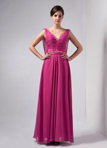 Hot Pink V-neck Chiffon Mother of the Bride Dresses with Beadings