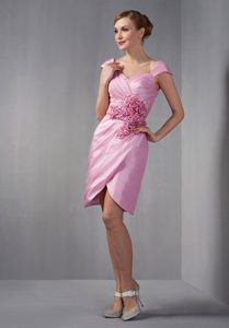 Rose Pink Cap Sleeves Mother of the Bride Dress with Flower