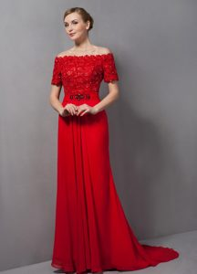 Red Off the Shoulder Appliqued Mother of the Bride Dress with Brush Train