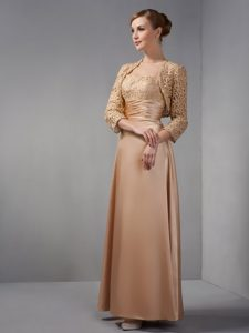 Straps Champagne Satin Mother of the Bride Dress with Appliques