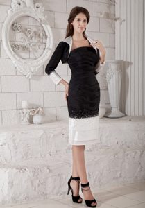 White and Black Strapless Mother of the Bride Dresses