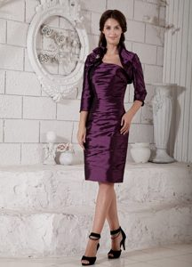 Purple Strapless Mother of the Bride Dresses with Flowers