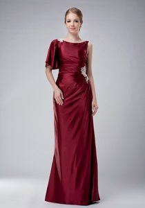 Burgundy Bateau Mother of the Bride Dresses with Appliques