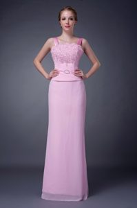 Straps Long Chiffon Beaded Mother of the Bride Dresses in Pink