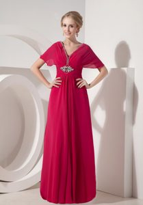 Beaded V-neck Long Chiffon Mother of the Bride Dress in Coral Red