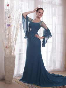 Navy Blue Square Mother of the Bride Dresses with Brush Train