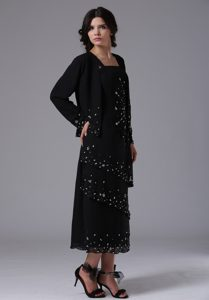 Beaded and Ruffled Mother of the Bride Dresses in Black with Tea-length