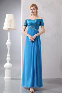 Sexy Beaded Off Shoulder Mother of the Bride Dress in Sky Blue