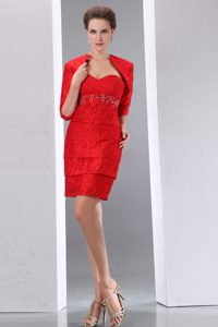 Red Sweetheart Mini-length Mother of the Bride Dress in Taffeta