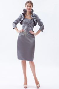 Grey Sweetheart Knee-length Mother of the Bride Dress