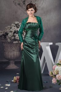 Ruched and Appliqued Hunter Green Mother of the Bride Dress with Flower