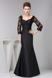 Satin Ruched Black Mermaid Mother of the Bride Dresses with 3/4 Sleeves