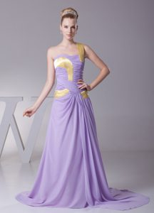 Lavender One Shoulder Ruched Mother of the Bride Dress with Brush Train