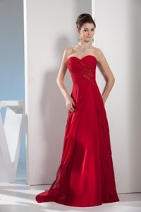 Wine Red Sweetheart Mother of the Bride Dress with Appliques and Ruches