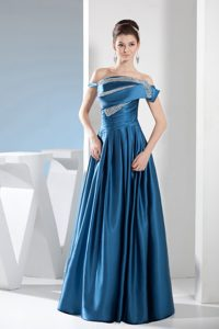 Off-the-shoulder Ruched and Beaded Mother of the Bride Dress in Taffeta