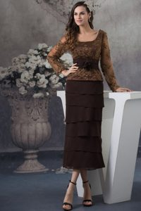 Chocolate Long Sleeve Embroidery Mother of the Bride Dress with Ruffles