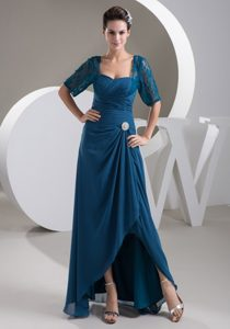 Latest Half-sleeve Ruched Teal Mother of the Bride Dress with High-low