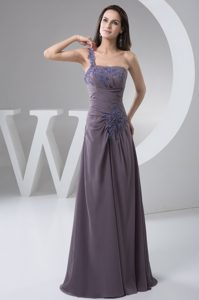 One Shoulder Empire Ruched Mother of the Bride Dresses with Appliques