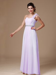 Baby Pink Long One Shoulder Ruched Beaded Prom Dress with Flowers