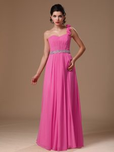 Hot Pink One Shoulder Long Ruched Beaded Prom Dresses with Flowers