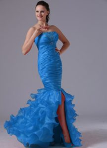 Sky Blue Strapless Ruched Long Mermaid Beaded Prom Dress with Ruffles