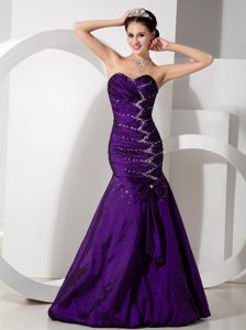 Purple Mermaid Sweetheart Long Ruched Prom Party Dress with Beading