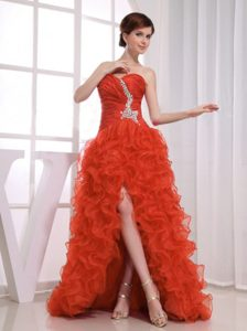 Beaded A-line High-low Rust Red Prom Dresses for Slim Girls with Ruffles