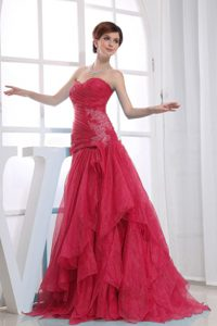 A-Line Ruched Sweetheart Red Prom Dresses for Tall Girls to Floor-length