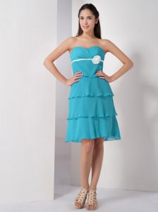 Latest Aqua Blue Sweetheart Junior Prom Dresses with Flowers