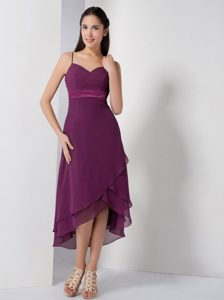 Dark Purple High-low Chiffon Informal Prom Dresses with Spaghetti Straps