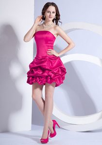Beaded A-line Mini-length Strapless Prom Gowns in Coral Red on Big Sale