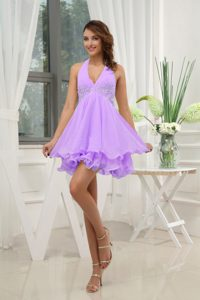 Halter Top Lavender Prom Dresses for Summer with Appliques