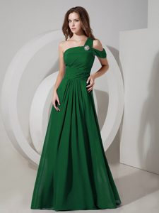 Wonderful Dark Green One Shoulder Prom Dress for Tall Girls with Ruche