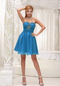 Teal Chiffon Prom Dresses for Short Girls with Ruched Bodice and Beading