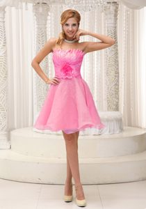 Sweet Beaded Semi-formal Prom Dress with Hand Made Flower in Hot Pink