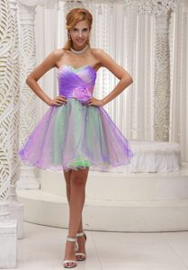 Lovely Ombre Color Organza Prom Outfits with Flower and Ruched Bodice