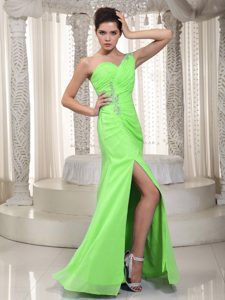 Not Spring Green One Shoulder Prom Gown with Beading