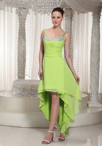 Pretty Spaghetti Straps High-low Yellow Green Prom Dresses with Beading