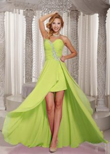 High-low Yellow Green Sweetheart Prom Dress for Summer with Appliques