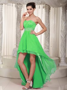 Beaded Spring Green Sweetheart High-low Prom Dress and Lace