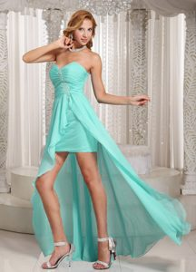 Wholesale Aqua Blue High-low Prom Dress for Slim Girls with Sweetheart