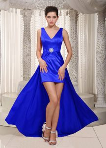Royal Blue V-neck High-low Semi-formal Prom Dress in Elastic Wove Satin