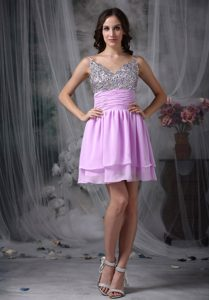 Lovely Beaded Chiffon Lavender Empire Straps Prom Dress for Short Girls