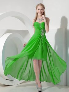 Sweet Green High-low Sweetheart Prom Dress for Slim Girls with Beading