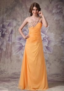 Wonderful Orange One Shoulder Informal Prom Dress with Beading
