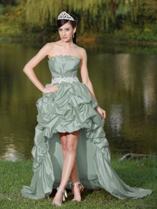 Pretty High-low A-line Strapless Grey Dress for Prom with Beading